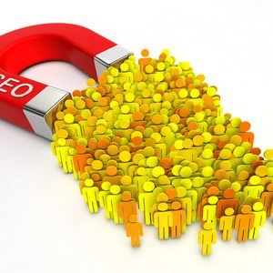 Magnet with title SEO attracts people