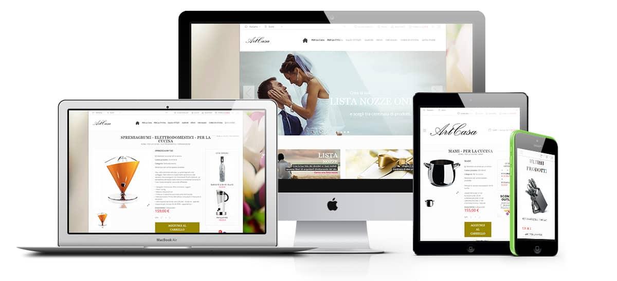 Creazione sito web artcasa gragnano napoli - ecommerce , lista nozze, wedding