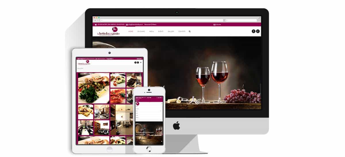 creazione sito web vineria ristorante la bettola del gusto pompei