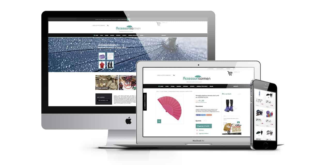 Sito Ecommerce vendita ombrelli e accessori pioggia | Accessori Carmen