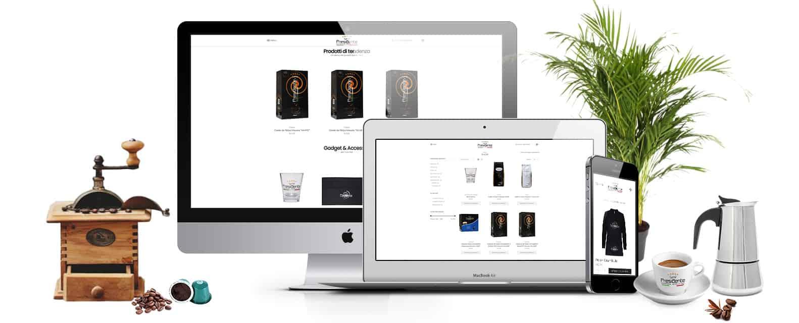 caffedelpresidente realizzazione sito ecommerce vendita produzione caffe - Ecommerce vendita e produzione caffè | Caffè del Presidente - Web Agency Napoli Flashex